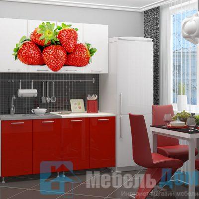Кухня Клубника фотопечать ЛДСП 1,6 м   (м)