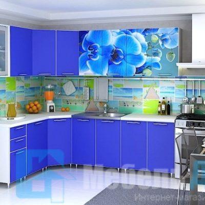 Кухня Орхидея Морской синий угловая  (р)