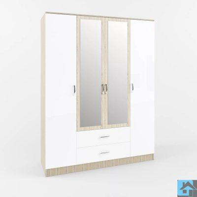 «Софи» Шкаф 4-х створчатый с 2-мя зеркалами и ящиками СШК 1600.1 (д)