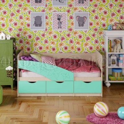Кровать «Бабочка» бирюза металлик (м)