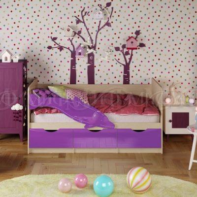 Кровать «Дельфин-1» Фиолетовый металлик (м)