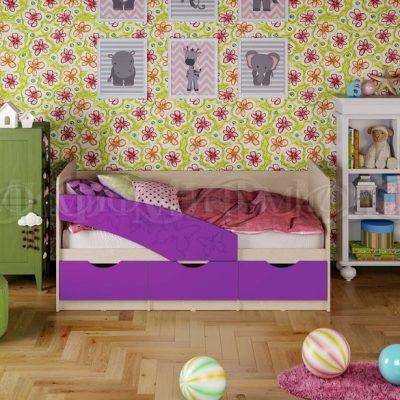 Кровать «Бабочки» фиолетовый металлик (м)