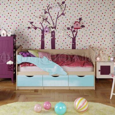 Кровать «Дельфин-1» Голубой (м)