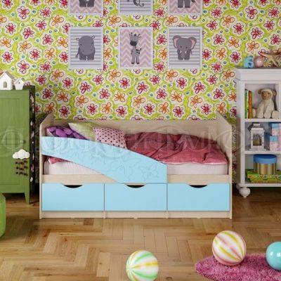 Кровать «Бабочки» голубой (м)