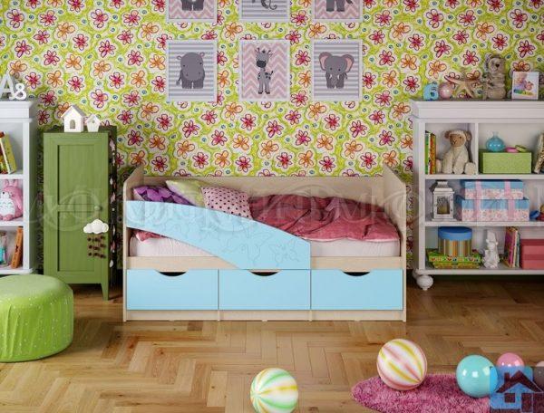 """Кровать """"Бабочки"""" голубой (м)"""
