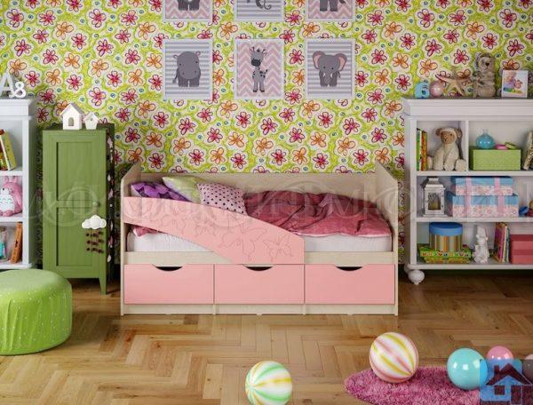 """Кровать """"Бабочки"""" розовый металлик (м)"""
