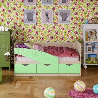 Кровать «Бабочки» салатовый (м)