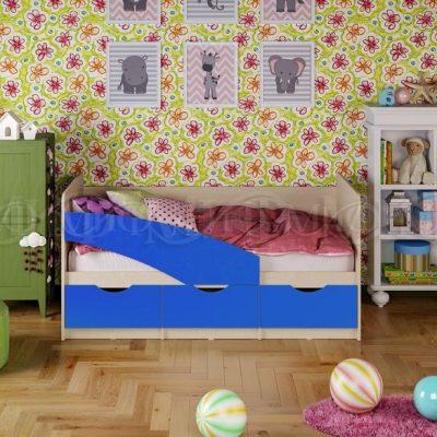 Кровать «Бабочки» синий (м)