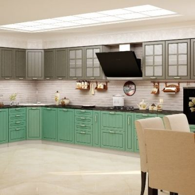 Кухонный гарнитур угловой Лондон 1,85х4,95м дуб графит (иц)