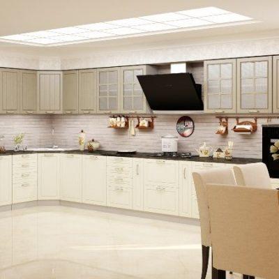 Кухонный гарнитур угловой Лондон 1,85х4,95м дуб капучино (иц)