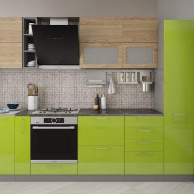 Кухонный гарнитур 3,10м «Олива» дуб сонома+зелёный металлик (иц)