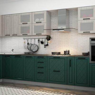 Кухонный гарнитур угловой 4,0*1,6 м «Барселона» верх седой клён (иц)