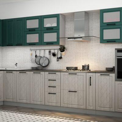 Кухонный гарнитур угловой 4,0*1,6 м «Барселона» верх морское дерево (иц)
