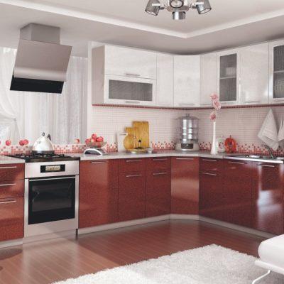 Кухонный гарнитур угловой 2,55м*2,45м «Олива» металлик (иц)