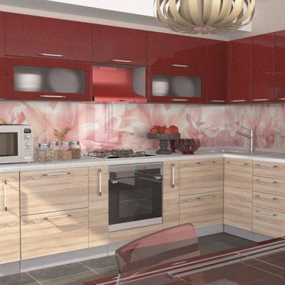Кухонный гарнитур угловой 3,16м*1,40м «Олива» дуб сонома + гранат металлик (иц)
