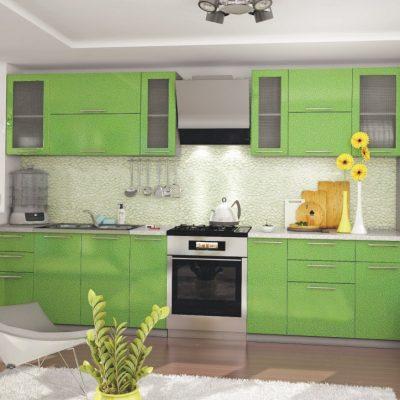 Кухонный гарнитур 3,10м «Олива» зелёный металлик (иц)