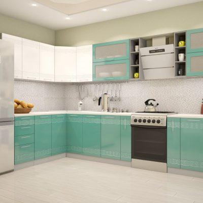 Кухонный гарнитур угловой 1,8*3,36 м «Мокко» белый глянец + бирюза металлик (иц)