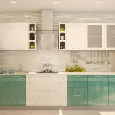 Кухонный гарнитур 3,30 м «Мокко» белый глянец + бирюза металлик (иц)
