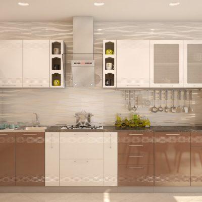 Кухонный гарнитур 3,30 м «Мокко» белый глянец + кофе с молоком глянец (иц)