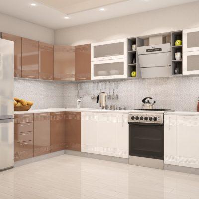 Кухонный гарнитур угловой 1,8*3,36 м «Мокко» белый глянец + кофе с молоком глянец (иц)