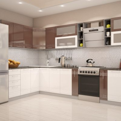 Кухонный гарнитур угловой 1,8*3,36 м «Мокко» белый глянец + шоколад глянец (иц)