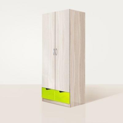 «Бриз» Шкаф 2-х створчатый МДФ волна Лайм (дл)
