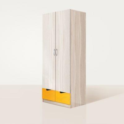 «Бриз» Шкаф 2-х створчатый МДФ волна Оранж (дл)