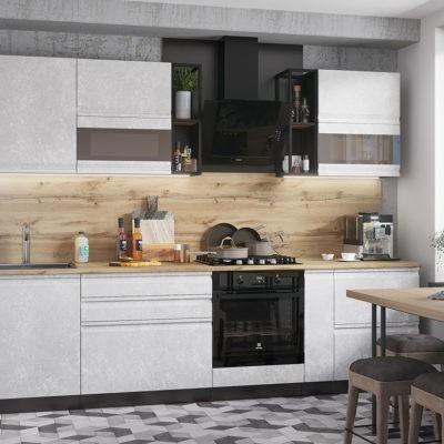 Кухонный гарнитур 2,8 м «Бруклин» Бетон белый (иц)