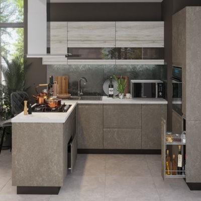 Кухонный гарнитур угловой 2,0*2,0*0,8 м «Бруклин» комбинированная (иц)