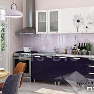 Кухня «Фантазия» белый глянец/фотопечать/индиго 2,0 (б)