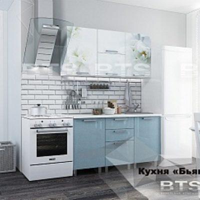 Кухня «Бьянка» голубые блестки/фотопечать 1,5м (б)