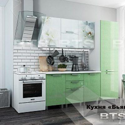 Кухня «Бьянка»салатовые блестки 2,1 (б)