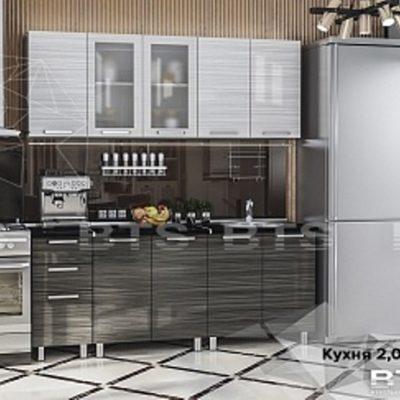 Кухня «Титан» мдф «титан бланш»/ «титан нуар» 2,0 (б)